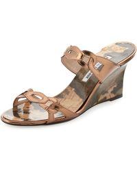 Manolo Blahnik - Chain Link Wedge Sandal Bronze - Lyst