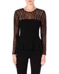 Emilio Pucci Lace detailed Peplum Top - Lyst