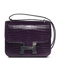 Hermes 18cm Amethyste Shiny Niloticus Crocodile Mini Constance with Palladium - Lyst