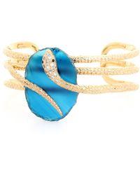 Isharya - Embellished 18kt Goldplated Snake Cuff - Lyst