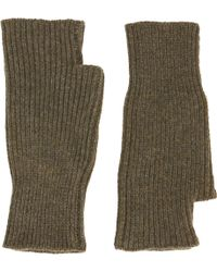 Barneys New York Ribknit Fingerless Mittens - Lyst