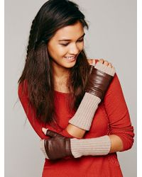 Free People Leather Knit Fingerless Gloves - Lyst