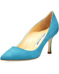 Manolo Blahnik Bb Suede 70mm Pump Malibu Blue Made To Order - Lyst