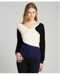 Shae Blue Colorblock Cashmere V-Neck Sweater - Lyst