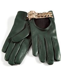 Valentino Royal Green Studded Driving Gloves - Lyst