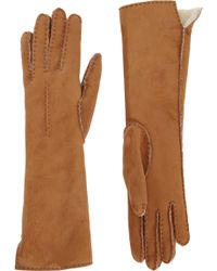 Barneys New York Long Shearling Suede Gloves - Lyst