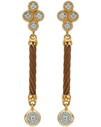 Charriol - Diamond Cluster Bronzecable Drop Earrings - Lyst