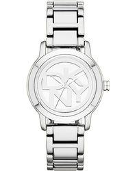 DKNY Ladies Silvertone Stainless Steel Watch - Lyst