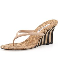 Manolo Blahnik - Patent Thong Wedge Sandal Nude - Lyst