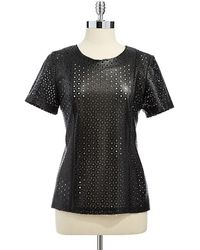 Calvin Klein Faux Leather Perforated Top - Lyst