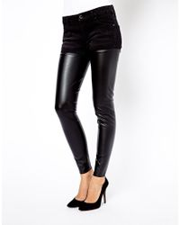 Mango - Leather Look Mix Jean - Lyst