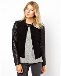 Mango Miranda Leather Sleeve Bomber Jacket - Lyst