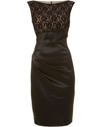 Eliza J Lace Top Satin Dress - Lyst