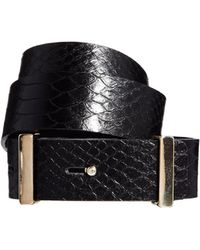 Asos Whistles Wide Snake Effect Leather Waisted Belt - Lyst