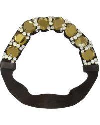 Marni - Crystal And Leather-Embellished Grosgrain Headband - Lyst