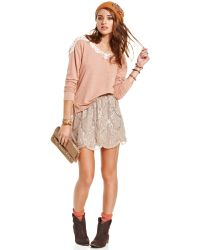 American Rag - Sequined Scalloped Mini - Lyst