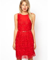 Oasis Red Lace Dress - Lyst