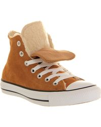 Converse All Star Shearling Hightop Trainers Beige - Lyst