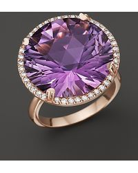 Lisa Nik - Amethyst and Diamond Ring in 18k Rose Gold - Lyst