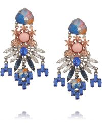 Vickisarge - Rose Gold and Palladiumplated Swarovski Pearl and Crystal Earrings - Lyst