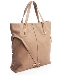BCBGeneration Dark Spice Leather Quinn Pyramid Stud Convertible Tote - Lyst