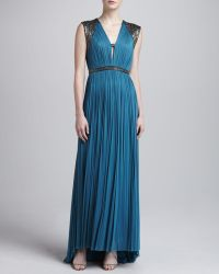 Catherine Deane Mercia Pleated Metallic Trim Gown - Lyst