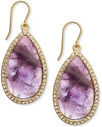 Lauren by Ralph Lauren - Gold-Tone Amethyst And Crystal Large Teardrop Earrings - Lyst