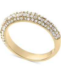 Michael Kors Goldtone Crystal Band Ring - Lyst