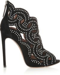 Alaïa Cutout Studded Suede Sandals - Lyst