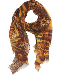 Barneys New York O Mixedleopardprint Shawl - Lyst