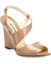 Brian Atwood - Anabel Patent Leather Wedge Sandals - Lyst