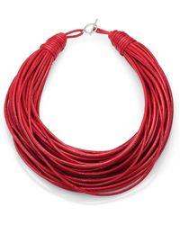 Brunello Cucinelli - Patent Leather Cord Multistrand Necklace - Lyst