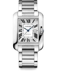 Cartier Tank Anglaise 18k Rhodiumized White Gold Bracelet Watchmedium - Lyst