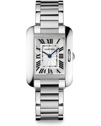 Cartier Tank Anglaise 18k Rhodiumized White Gold Bracelet Watchsmall - Lyst