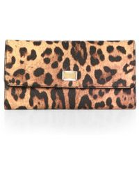 Dolce & Gabbana Leopard-Print Coated Canvas Continental Wallet - Lyst