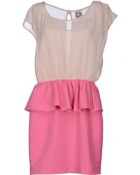 Dress Gallery Zip Round Collar Fuchsia Short Dress - Lyst