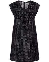 Fendi Short Sleeve Round Collar Black Short Dress - Lyst