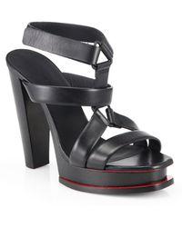 Jil Sander Leather T-Strap Platform Sandals - Lyst