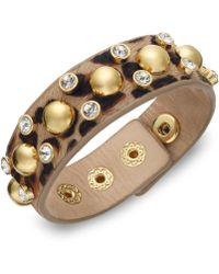 Juicy Couture Goldtone Stud and Crystal Accent Leopard Leather Bracelet - Lyst