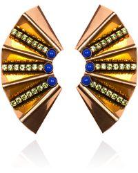 Nicole Romano - Gold Fan Earring - Lyst