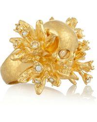 Alexander McQueen Swarovski Crystal Skull Ring - Lyst