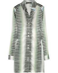Aminaka Wilmont - Printed Cotton and Silk blend Shirt Dress - Lyst
