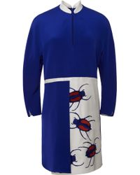 Azede Jean-Pierre - Blue 4ply Crepe Embroidered Dress - Lyst