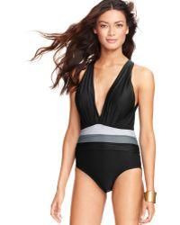 Badgley Mischka - Draped Colorblock Onepiece Swimsuit - Lyst