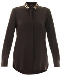 DKNY Embellished Collar Shirt - Lyst