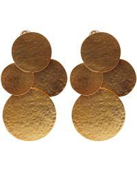 Herve Van Der Straeten - Goldplated Pailettes Drop Earrings - Lyst
