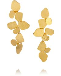 Herve Van Der Straeten Hammered Goldplated Clip Earrings - Lyst
