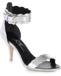 bfa40cd25d0 Isa Tapia - Lia Metrallic Python Anklestrap Sandals - Lyst