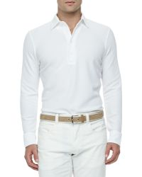 Loro Piana Huck-Lace-Cotton Long-Sleeve Polo - Lyst