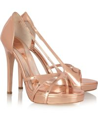 McQ by Alexander McQueen Mirrored Leather Sandals - Lyst